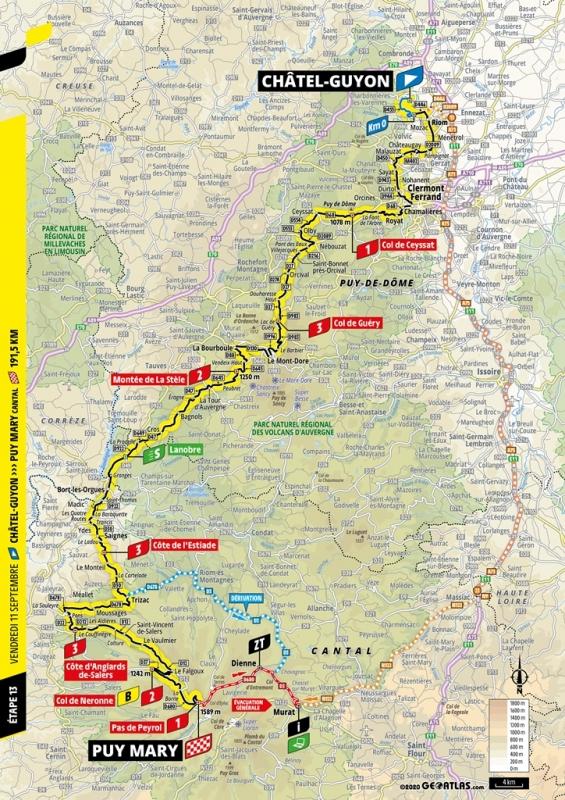 Тур де Франс-2020, превью этапов: 13 этап, Шатель-Гийон - Пью Мари / Па де Пероль