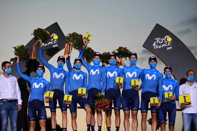 Велокоманда Movistar третий год подряд выигрывает командную классификацию Тур де Франс-2020