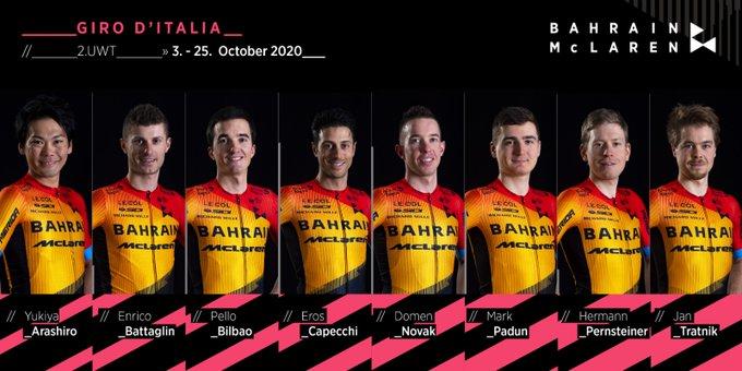 Состав велокоманды Bahrain McLaren на Джиро д'Италия-2020