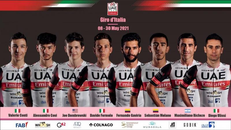 Состав команды UAE Team Emirates на Джиро д'Италия-2021