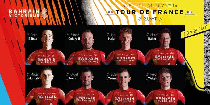 Состав велокоманды Bahrain-Victorious на Тур де Франс-2021