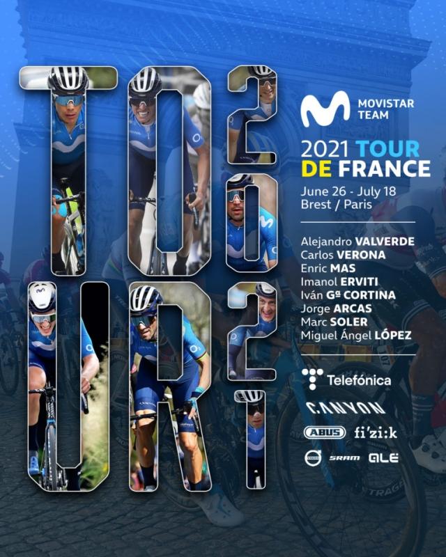 Состав велокоманды Movistar на Тур де Франс-2021