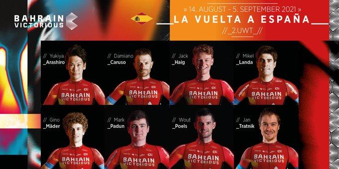 Состав велокоманды Bahrain Victorious на Вуэльту Испании-2021