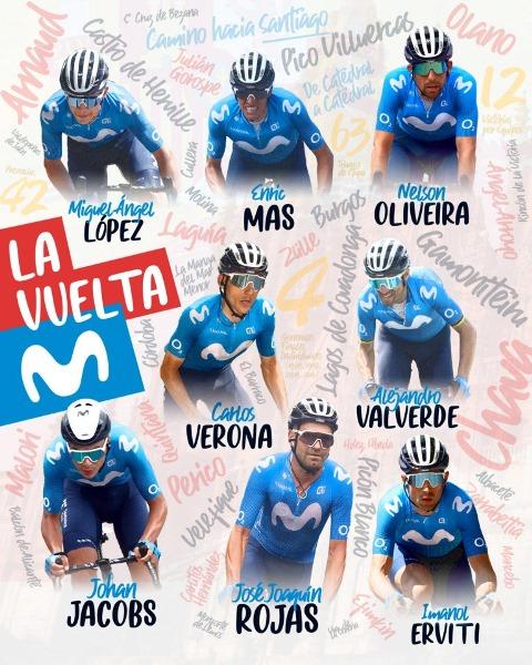 Состав велокоманды Movistar на Вуэльту Испании-2021