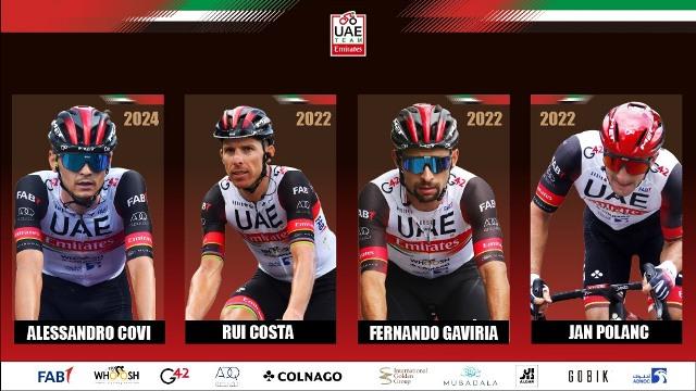 Велокоманда UAE Team Emirates объявила о продлении контрактов с Гавирией, Коштой, Кови и Поланцом