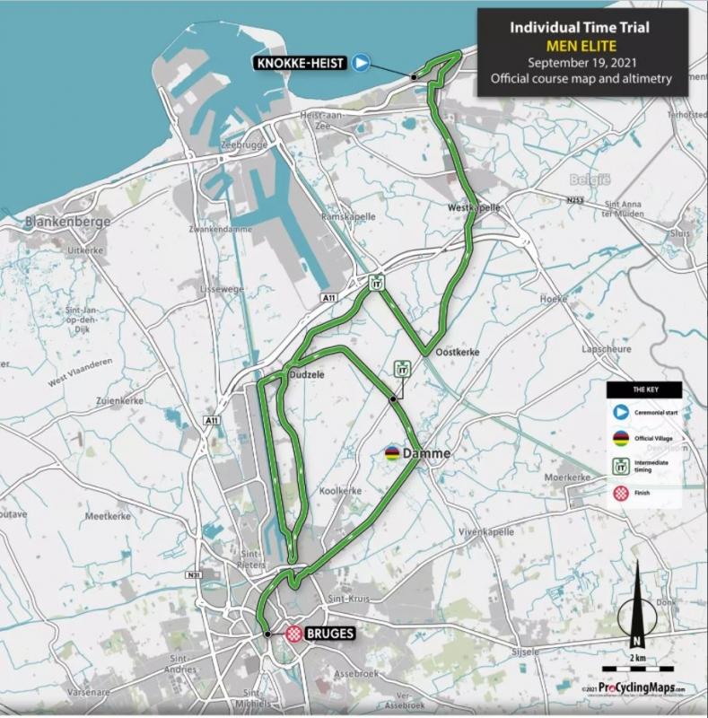 Чемпионат мира по шоссейному велоспорту-2021 во Фландрии. Профили и составы на ITT