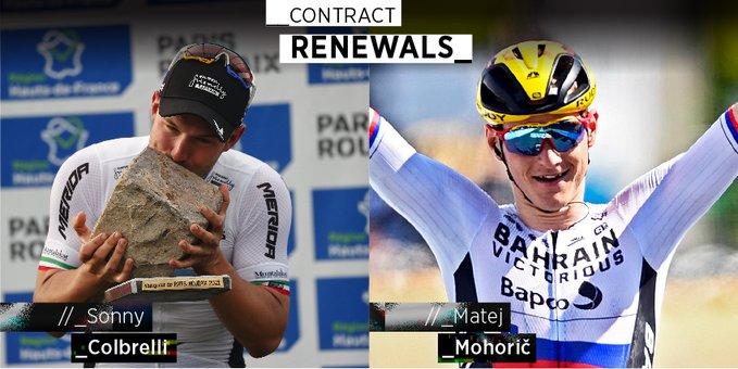 Матей Мохорич и Сонни Кольбрелли продлили контракты с велокомандой Bahrain Victorious